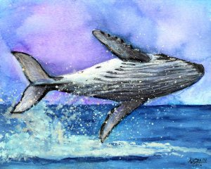 blue whale, whale painting, watercolor whale, wall art, whale wall art, whale decor, whale illustration, original whale art, original watercolor art