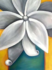grey flower, gray flower, floral painting, georgia o'keeffe, monochromatic flower, floral wall art, flower wall art