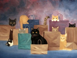 bag ladies, cats in bags, kitty paintings, cat painting, cat artist, cat wall art, cute cat art, original cat paintings, cat portrait artist