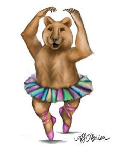 ballerina bear, teddy bear art, dancing bear, bear wall art, bear illustration, bear drawing, unique bear art, bear paintings