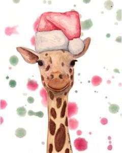 giraffe, giraffe painting, giraffe art, watercolor giraffe, giraffe illustration, holiday giraffe, santa hat animals, santa hat giraffe, giraffe christmas, christmas giraffe