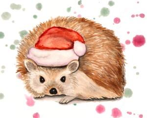 hedgehog art, hedgehog painting, hedgehog gift, hedgehog watercolor, christmas hedgehog, holiday hedgehog