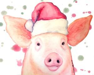 holiday pig cute pigs, pig art, watercolor pig, christmas pig, pig illustration, piglet art, piglet painting, happy pigs