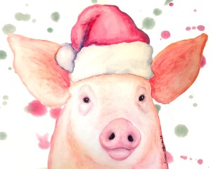 holiday pig cute pigs, pig art, watercolor pig, christmas pig, pig illustration, piglet art, piglet painting, happy pigs