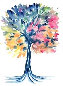 rainbow tree, tree painting, watercolor tree, pro life thrift, tree paintings, colorful tree art, tree of life, family tree art, original watercolor tree, amber obrien artist, tree artist