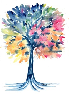 rainbow tree, tree painting, watercolor tree, pro life thrift, tree paintings, colorful tree art, tree of life, family tree art, original watercolor tree, amber obrien artist, tree artist