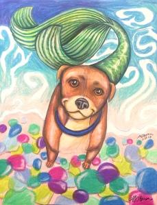dog mermaid, mermaid dog, fantasy art, dog illustration, glass beach art, glass beach concept art, storybook art, storybook concept, happy dog, smiling dog, laughing dog, baby room art, nursery wall art, colorful wall art, cheerful art