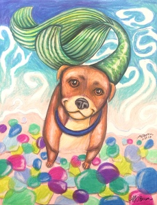 dog mermaid, mermaid dog, fantasy art, dog illustration, glass beach art, glass beach concept art, storybook art, storybook concept, happy dog, smiling dog, laughing dog, baby room art, nursery wall art, colorful wall art, cheerful art