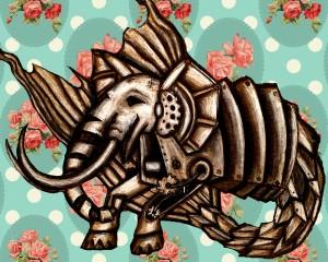 mechaincal elephant, elephant art, elephant drawing, fantasy drawing, elephant painting, wild animals, wildlife painting, elephant lovers gift, elephant wall art, elephant magnet, elephant print, printable elephant art