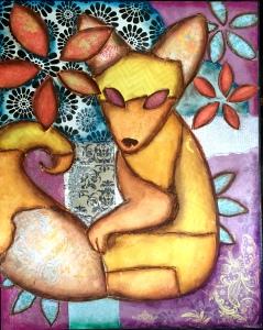 fox art, woodland fox, fox decor, nursery fox, woodland nursery art, fox wall art, fox lovers gift, yellow fox art, collage art, cute foxes, wall art for kids