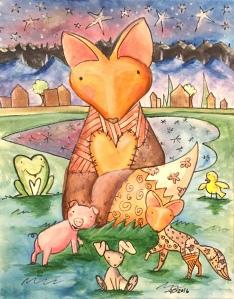 woodland fox, fox art, fox painting, baby fox wall art, fox kids room, cute baby foxes, i dont give a fox, for fox sake, patchwork animals, stuffed animal fox, fox nursery, fox wall art, baby foxes painting, orange fox, red fox, what does the fox say