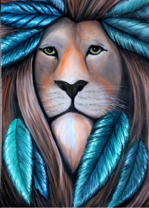 tribal lion, bohemian lion, boho lion, boheian style, bohemian art, lion painting, lion feathers, tribal lion art, lion warrior, lion king, mufasa painting